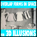 Overlapping forms in space for 3 dimensional illusions