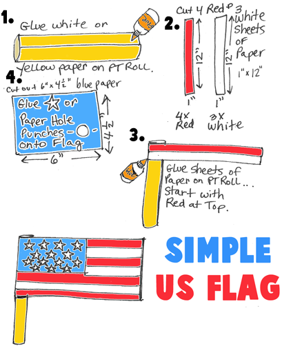 Paper Towel Roll American Flag for 4th of July Parades