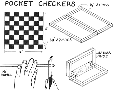 Wooden Pocket Checkers