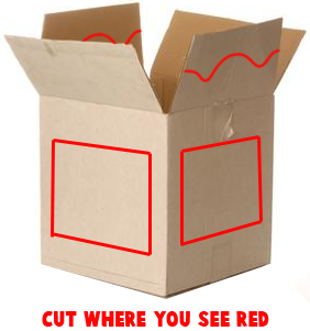 Cut out the front and sides of Box.