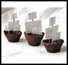 Egg    Cup Ships   : Columbus Day Crafts Activities for Children