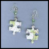 Puzzle   Piece Brass & Crystal Earrings