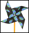 Earth Day Pinwheel Crafts : Globe Geography Crafts Projects for Children