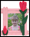 Craft Stick Rosebud Picture Frame Project Gift for Mother's Day