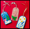3-D Winter Holiday Gift Tags Ribbons Craft for Kids