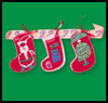 Christmas stocking Swag with Ribbons Crafts Instructions for Children