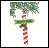 Candy   Cane Signpost  : Pom Pom Crafts Ideas for Kids