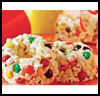 Candy-Speckled   Popcorn Cakes  : Popcorn Crafts Ideas for Kids