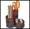 Leather   Pencil Holder  : Crafts with Potato Chip Cans