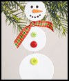 Dangling Ribbons Snowman Crafts Activity for Kids on Christmas