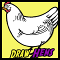 How to Draw Cartoon Hens