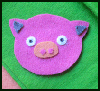 Piggy Felt Badge Craft for Kids