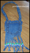 Fringed   Pocket Purse Made with Jeans