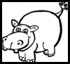 How to Draw Cartoon Hippos