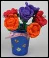 Clay   bouquet in yogurt cup vases  : Plastic Cup Crafts for Kids