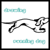 Make this easy drawing of a dog jumping, running, and playing