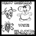 Drawing and Making Cute Animals Out of Hearts for Valentine's Day