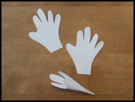 Cut out Hands for Handprint Easter Lily Bouquet of Flowers Craft Activity for Kids