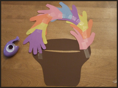 Tape or Glue the Child's handprints into an easter basket handle