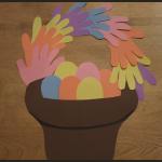 Finished Handprint Easter Basket Crafts Activity Project for Kids