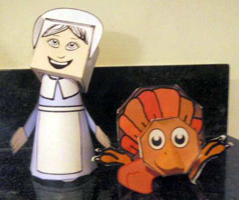 Free Thanksgiving Turkey Paper Toys Model Make Printable