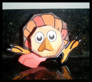 Printable Foldable Paper Crafts Turkey Toy Model