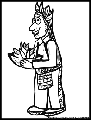 Free Thanksgiving Coloring pages - Indians Coloring Page
