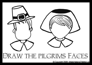 Thanksgiving Activity - Coloring and Drawing Pilgrims Faces