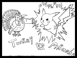 Free Thanksgiving Coloring Pages - Turkey vs Pikachu Coloring Page
