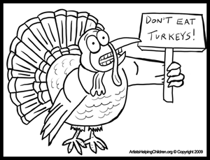 Free Thanksgiving Coloring pages - Scared Turkeys Coloring Page
