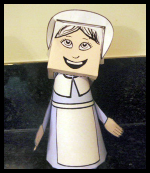 Printable Foldable Paper Crafts Pilgrim Girl Toy Model