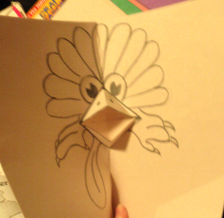 Finished Black and White Thanksgiving Turkey Pop Up Card Making Craft - Turkeys Beak Opens and Closes