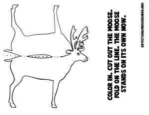Print Out Black and White Moose figure (for Coloring In)