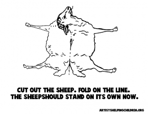 Print Out Black and White Sheep figure (for Coloring In)