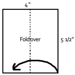 Firstly, fold an oblong piece of paper 4 inches by 5 1/2 inches on its short diameter.