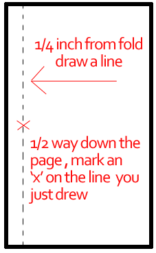 One fourth inch from fold draw a line and mark an 'x' halfway down on it.