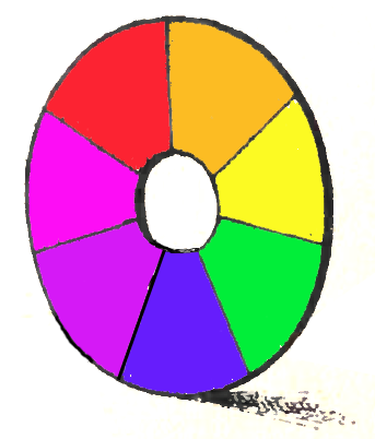 Divide the circle into 7 equal parts, and paint or crayon the sections with the colors of the rainbow