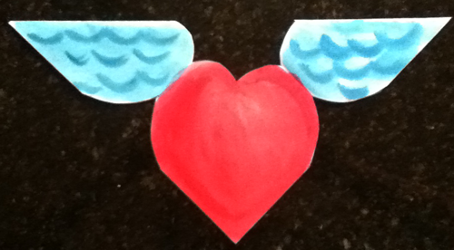 Step 1 : Making Valentines Day Cards Origami Folded Hearts with Wings
