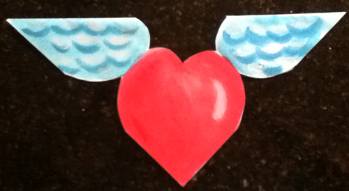 Making Hearts with Wings Valentines Day Cards with Paper Folding and Cutting