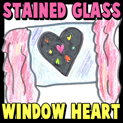 How to Make Stained Glass Valentines Day Heart Window Hanging : Kids Craft