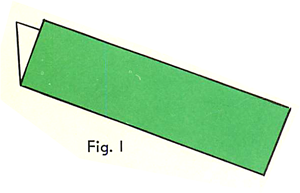 Fold a rectangular sheet of paper in half the long way. Figure 1