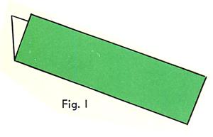 Fold a rectangular sheet of paper in half the long way. Figure 1