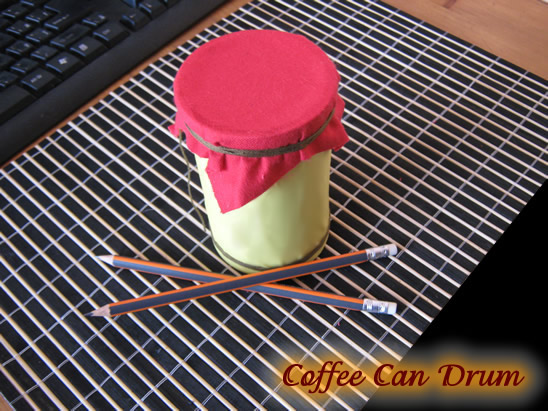 how to make a coffee can drum kids crafts activities kids crafts activities. Black Bedroom Furniture Sets. Home Design Ideas