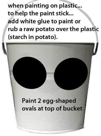 Paint two egg-shaped ovals at top of bucket