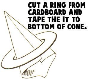 Cut a ring from cardboard and tape it to the bottom of the cone