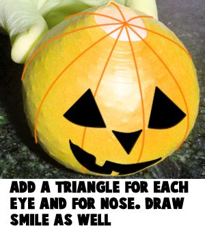 Add a triangle for each eye and for the nose