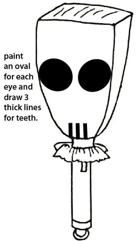 Paint an oval for each eye and draw three thick lines for teeth