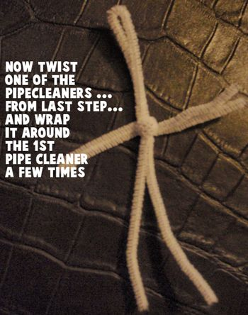 Now twist one of the pipe cleaners... from last step... and wrap it around the 1st pipe cleaners a few times