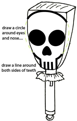 Draw a circle around the eyes and nose... Draw a line around both sides of teeth