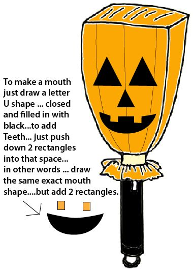 To make a mouth draw a letter U shape... closed and filled in with black